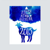 Symbol of the 2015 year, greeting card with goat. — Stock Vector