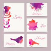 Set of flowers card, watercolor technique. — Stock Vector