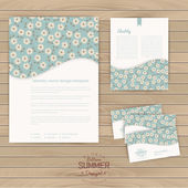 Vector set of floral vintage wedding cards — Vettoriale Stock