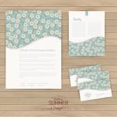 Vector set of floral vintage wedding cards — Stok Vektör