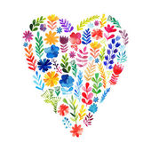 Vector heart made of watercolor flowers. — Stock Vector