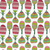 Vector seamless pattern with tribal leaf and trees. — Vecteur