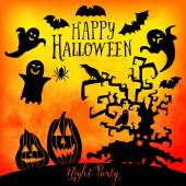 Vector  Happy Halloween greeting card — Stock Vector