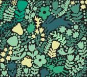 Vector seamless texture with flowers, birds and butterflies. Aut — Stock Vector