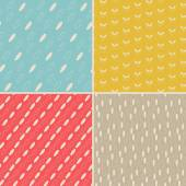 Vector set of four seamless hand-drawn pattern. — Vector de stock