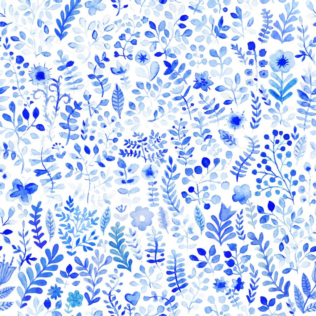 Floral watercolor pattern, texture with flowers. — Stock Vector ...