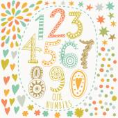 Whimsical hand drawn numbers — Stock Vector