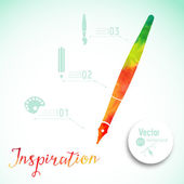 Creativity concept with colorful pen — Stock Vector