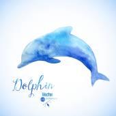 Symbol pozadí akvarel delfína — Stock vektor