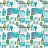 Pattern with tiny houses and trees — Stock Vector
