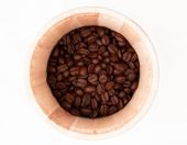 Coffee Beans at Wooden Cade — Stock Photo