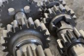 Gears on grey — Stock Photo