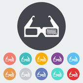 Glasses 3D single icon. — Wektor stockowy