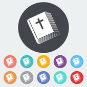 Bijbel één pictogram. — Stockvector