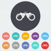Binoculars flat icon — Stock Vector