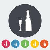 Wine flat icon — Stock Vector