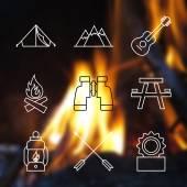 Zarys obrysu Camping ikony. — Wektor stockowy