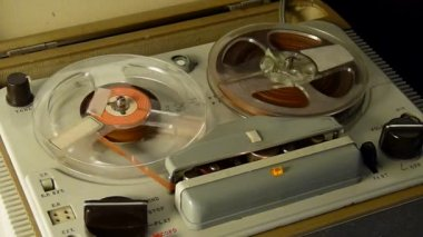 Old Tape Reel to Reel Recorder — Stock Video
