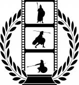 Laurel wreath and film with warrior — 图库矢量图片