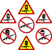 Warning signs of terrorism. vector illustration — Stock Vector