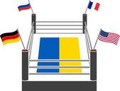 Ring de lucha de Ucrania — Vector de stock