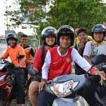 Постер, плакат: Guys posing on motorbikes
