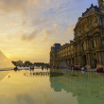 Louvre Palace and Pyramid — Stock Photo #63300233