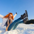 Woman on the snow field — Stock Photo #68597889