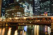 Chicago Centrum 's nachts — Stockfoto