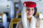 Člen posádky Emirates — Stock fotografie