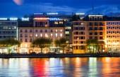 Geneva downtown at night — Stock Photo