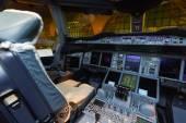 Emirates Airbus A380 aircraft cockpit interior — Stock Photo