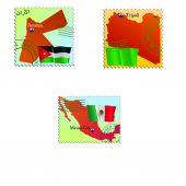 Capital  Jordan, Libia, Mexico — Cтоковый вектор