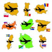 Fly me to the Romania, Russia, South Africa, South Korea, Spain, — Stock Vector