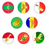 Collection icons with countries — Stock Vector