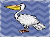 Pelikan ile antika arka plan — Stok Vektör