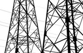 Fragment of the industrial metal framework, silhouette on a whit — Stock Photo