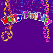 Purple card with confetti and serpentine. Happy birthday. Vector — Stock Photo #52317287