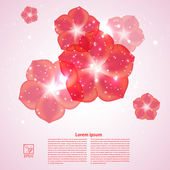 Pink background with red flowers and reflections. Vector illustr — Stock Photo