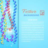 Blue background with serpentine, flares and field for text. Vect — Stock Photo