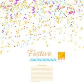 Festive confetti and streamers isolated on white background. Vec — Stock Photo