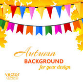 Autumn background with maple leaves and pins. Vector illustratio — Stock Photo