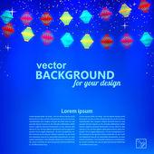 Fondo azul festivo con guirnalda de linternas de papel. vector i — Vector de stock