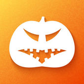 Halloween. Pumpkin with sinister facial expressions on an orange — Stock Vector