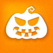 Halloween. White silhouette of a pumpkin with a sinister facial  — Stock Vector