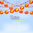 Winter blue background with a garland of orange Chinese lanterns — Vecteur #53232663