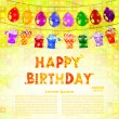 Birthday greeting with a garland of balloons and gifts on a yell — Stock Vector #53232717