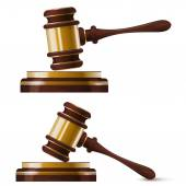 Set of two wooden gold hammer of the judge. Isolated. Vector ill — Vetor de Stock
