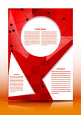 Flyer with geometric elements for text on a red background. Vect — Stockvektor