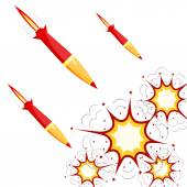 Set of military rockets red isolated on white background. Vector — Stock Vector